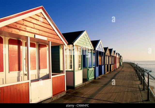 England, Suffolk, Southwold, Strandhütten Stockbild