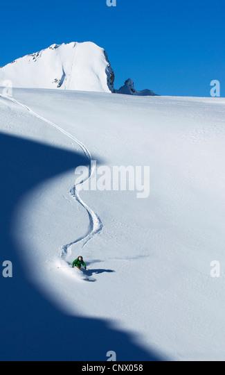 Skifahren Sie im Skigebiet Tignes, Frankreich Stockbild