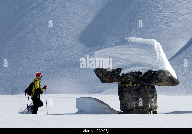 Schnee Schuh Wanderer in nördlich der Alpen, Frankreich Stockbild