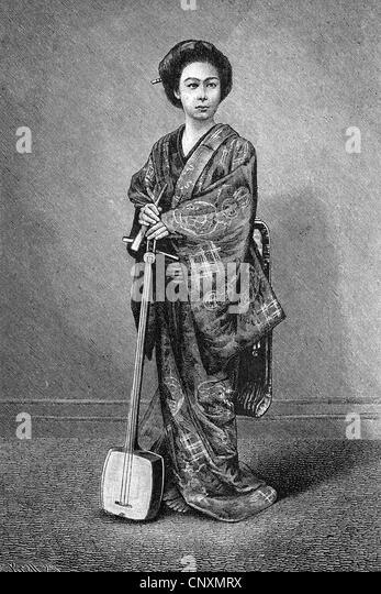 Japanische Frauen leben, hält ein Shamisen, historische Geisha Gravur, 1883 Stockbild