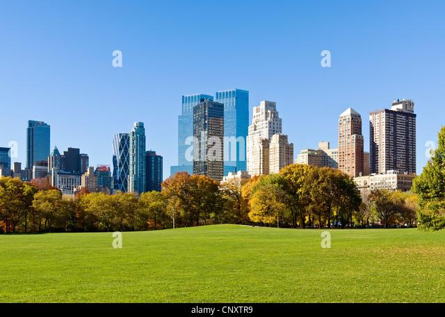Central Park Skyline Time Warner Center 15 CPW Stockbild