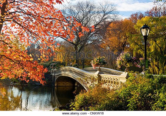 Bogenbrücke, Central Park, New York City im Herbst. Stockbild