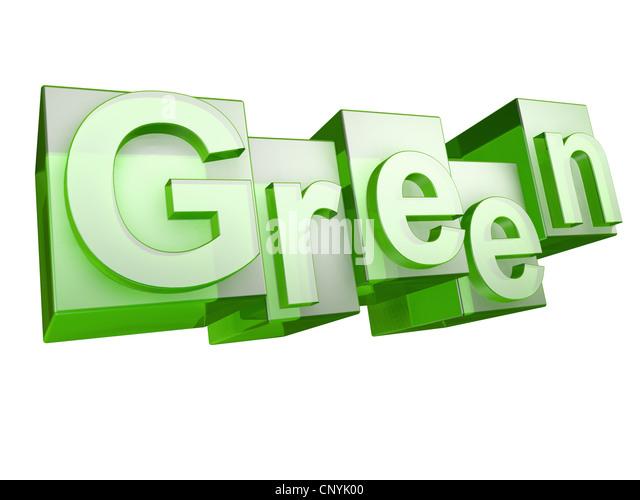 Das Wort grün in Grünglas Buchstaben auf weißem Hintergrund Stockbild