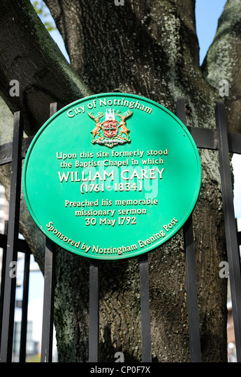 William Carey Baptist Missionar. Nottingham Maid Marion Weise Plaque. Stockbild