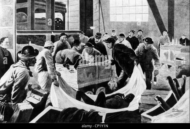 Bergbau, Katastrophen, mine Katastrophe in Courrieres, 10.3.1906, zeitgenössische Zeichnung von Paul Thiriat, Stockbild