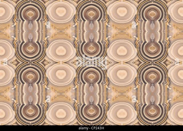 Polierte Scheibe des Ocean Jaspis (undurchsichtig, feinkörniger Form von Chalcedon) symmetrische Muster durch Stockbild
