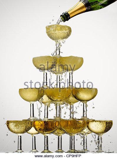 Fülle, Blase, Feier, Champagner, Champagner-Flasche Champagner-Glas, Farbe Stockbild