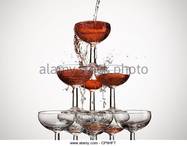 Fülle, Vorfreude, Aspiration, Anfänge, Blase, Feier, Sektglas, Farbbild, Konzept, überschüssige, Stockbild