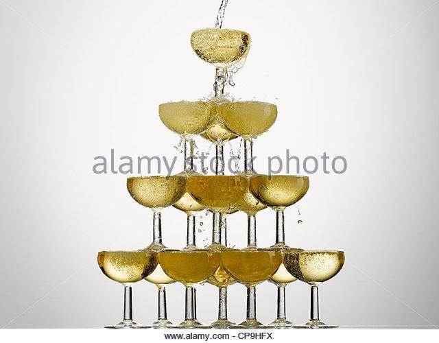 Blase, Feier, Champagner, Champagner-Glas, Fülle, Farbe Stockbild