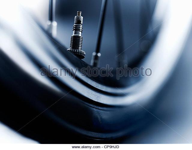 Luft-Ventil, Fahrrad, schwarz / weiß, Nahaufnahme, Detail, horizontal, niedrigen Winkel Ansicht, Metall, keine Stockbild