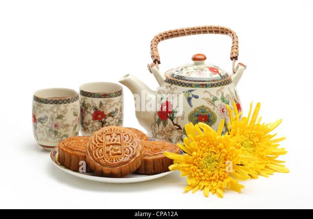 Mooncake und Tee, chinesische Mitte Herbst Festival Essen. Stockbild