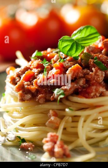 Nahaufnahme von einem frischen italienischen Spaghetti bolognese Stockbild