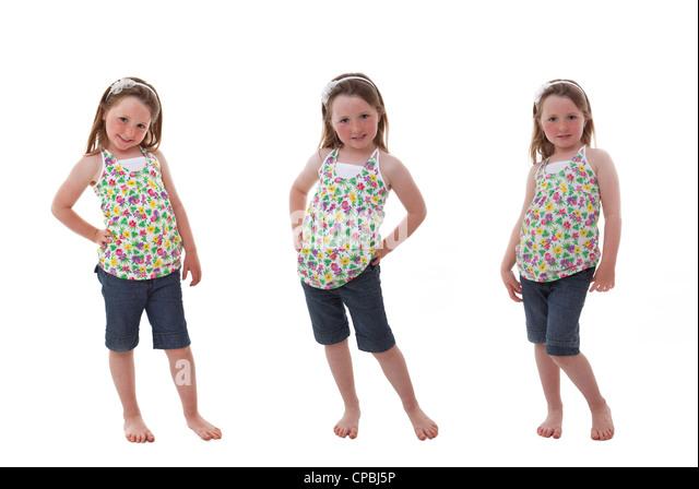 niedliche glückliches Kind in verschiedenen Posen Stockbild