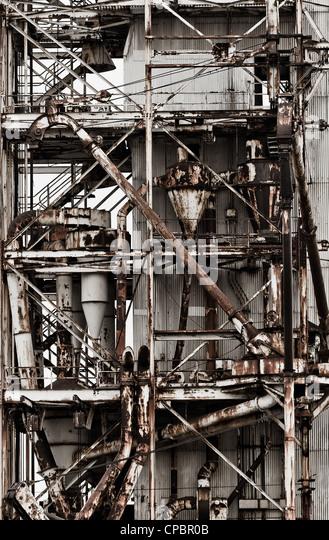 Außenseite des zerstörten Fabrikgebäude Fabrik Stockbild