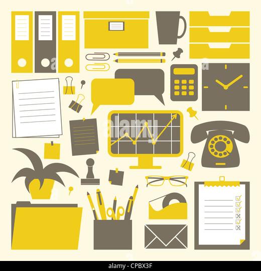 Eine Sammlung von Office im Zusammenhang mit Objekten in gelb, dunkelgrau und weiß. Stockbild