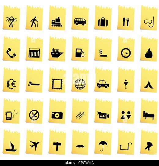 Reise-Set von verschiedenen Vektor-Web-icons Stockbild