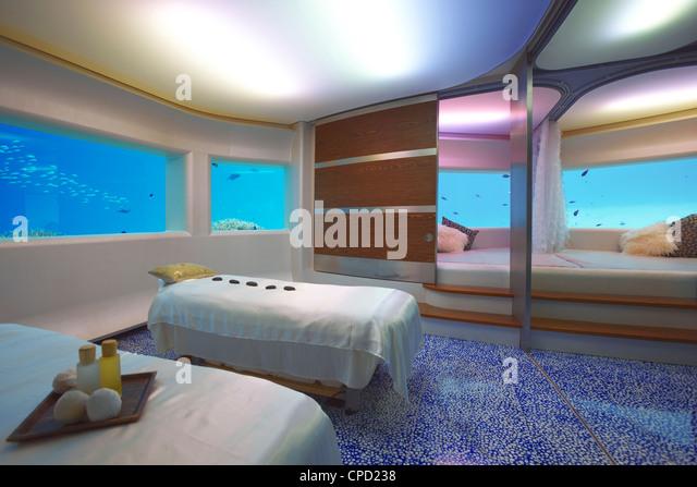 Unterwasser-Spa, Huvafen Fushi Resort und Spa, Malediven, Indischer Ozean, Asien Stockbild