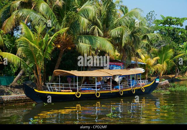 Boot für Touristen auf den Backwaters, Allepey, Kerala, Indien, Asien Stockbild