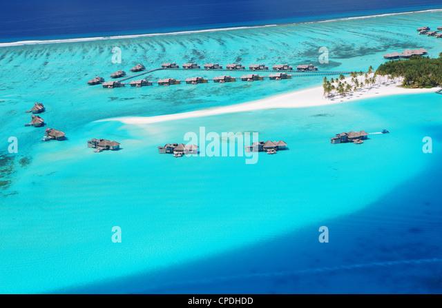 Luftaufnahme des Resorts, Malediven, Indischer Ozean, Asien Stockbild