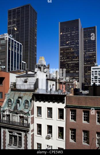 Verschiedene Baustile in Manhattan, New York City, New York, Vereinigte Staaten von Amerika, Nordamerika Stockbild