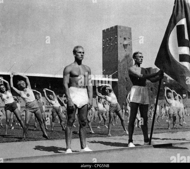 Sport, Gymnastik, deutscher Turner, 1930er Jahre, 30er Jahre, Team, Flagge, Hakenkreuz, Nazi-Deutschland, Drittes Stockbild