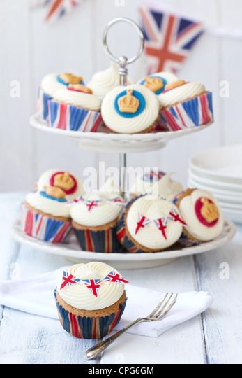Diamond Jubilee cupcakes Stockbild