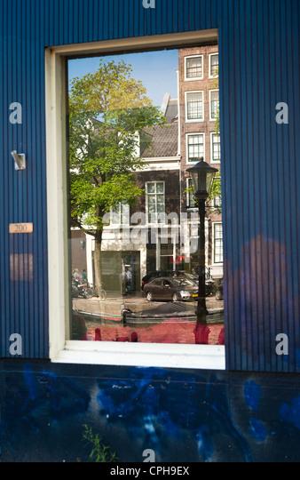 Reflexion von Gebäuden in Glas-Amsterdam, Niederlande, Holland Stockbild