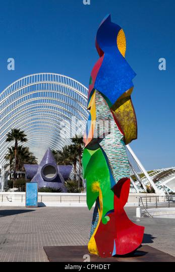Spanien, Europa, Valencia, Stadt der Kunst und Wissenschaft, Architekt, Architektur, Kunst, Calatrava, Farbe, bunt, Stockbild