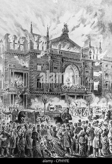 Die Ringstraße in Wien, Brandkatastrophe im Dezember 1881 Stockbild