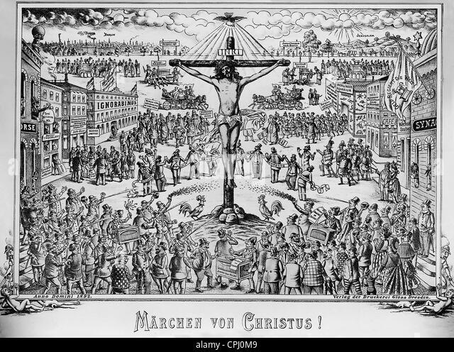 """Anti-Semitic Illustration aus dem """"Politischen Bilderbogen"""" mit dem Titel 'Das Märchen von Christus!', Stockbild"""
