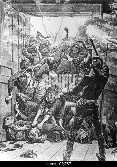 Brandkatastrophe in der Wiener Ringstraße, Menschen in Todesangst, 1881 Stockbild