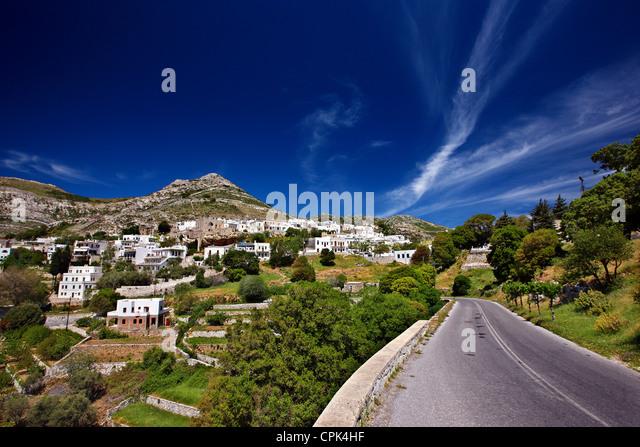 """Bietet (oder """"Apeiranthos"""") Dorf, eines der schönsten Bergdörfer der Insel Naxos, Kykladen, Stockbild"""