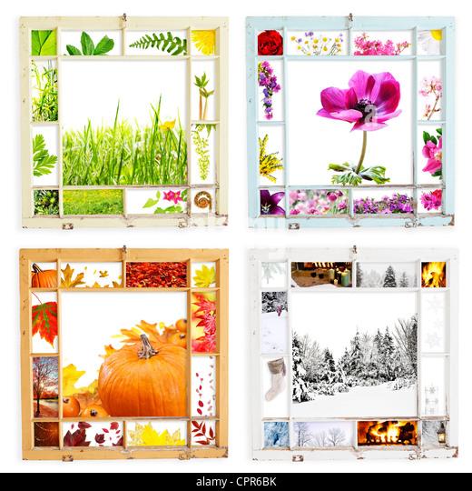 Grunge Holz Fensterrahmen mit saisonalen Bilder - mit Beschneidungspfade Peeling Stockbild