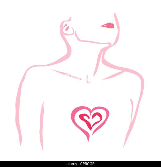 Herzschmerz. Frau mit ihrem Herzen ausgesetzt. Stockbild