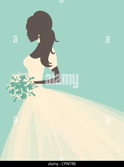 Abbildung einer schönen Braut Blumen halten. Stockbild