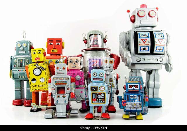 Retro-Roboter-Spielzeug-Gruppe Stockbild
