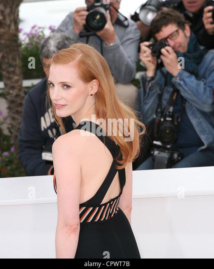 Schauspielerin Jessica Chastain in den gesetzlosen Film Fototermin bei der 65. Filmfestspiele von Cannes. Stockbild