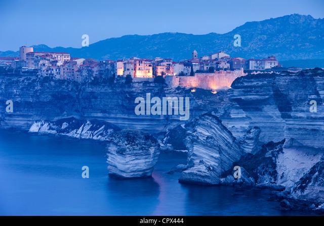 Bonifacio im Morgengrauen, Korsika, Frankreich Stockbild