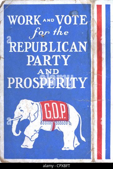 Eine 1928 GOP beachten Sie Karte mit Slogans und der Elefant als Symbol für die republikanische Partei Stockbild