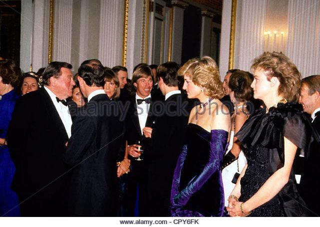 Diana, 1.7.1961 - 31.8.1997, Prinzessin von Wales, halbe Länge, mit Prinz Charles, der Ministerpräsident Stockbild