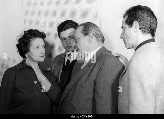"Film, ""Simon"", DEU 1960, während making-of: Ida Ehre, Hans G. Harnisch, Carl Kuhlmann, Pinkas Braun, Stockbild"
