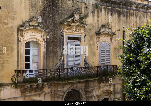 Barocken Balkon, Noto, Sizilien, Italien, Europa Stockbild
