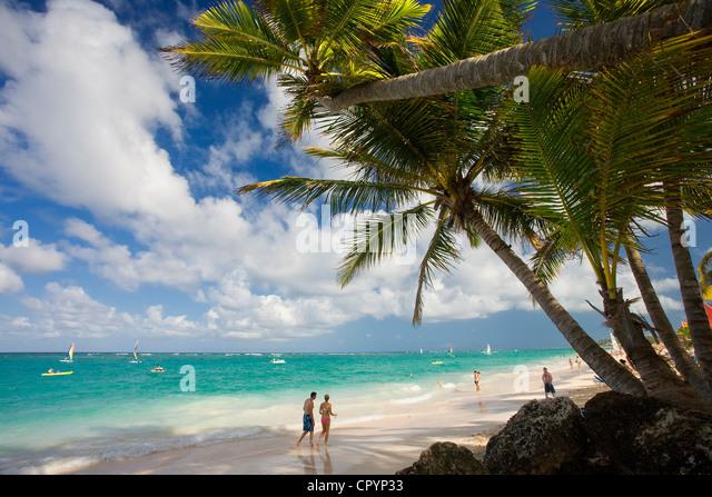 Dominikanische Republik, Provinz La Altagracia, Punta Cana, Playa Bavaro Stockbild