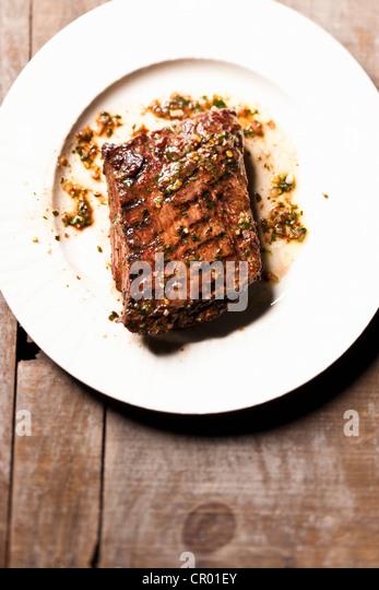 Nahaufnahme der Platte Flanke Steak Stockbild