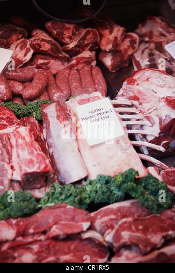 Frisches Fleisch zum Verkauf Stockbild