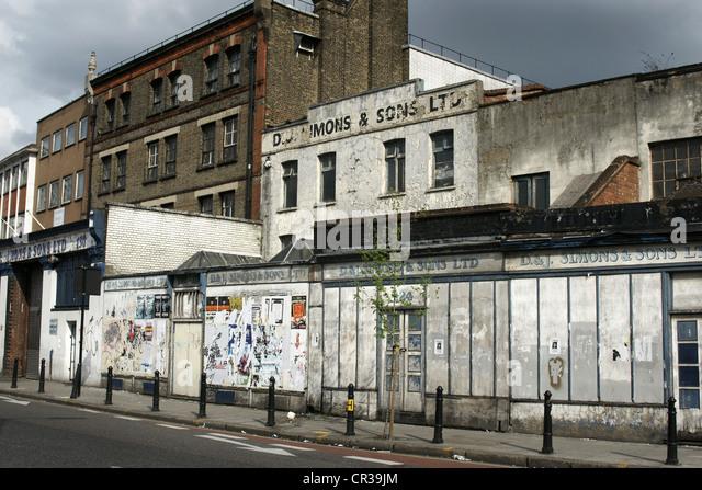 Verfallene Häuser und Eigenschaften und Hackney, London Stockbild