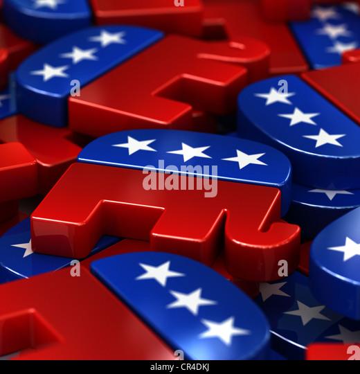 Republikanische Elefanten, Maskottchen der Republikanischen Partei, USA Stockbild