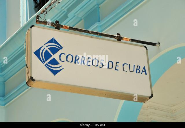 Correos de Kuba unterzeichnen, kubanische Postamt, Bayamo, Kuba, Caribbean Stockbild