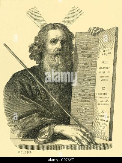 Moses, Kupferstich nach einem Gemälde von Philippe de Champagne, aus Holz: allgemeine Geschichte der Welt für Stockbild
