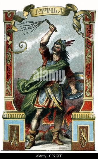 """Attila, König der Hunnen, starb 453, Illustration aus: """"Große Männer in Wort und Bild"""", Stockbild"""